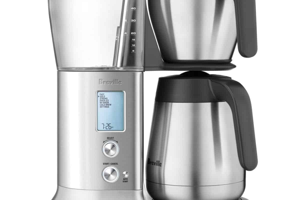 a close up of the breville bdc450 coffee maker with thermal carafe