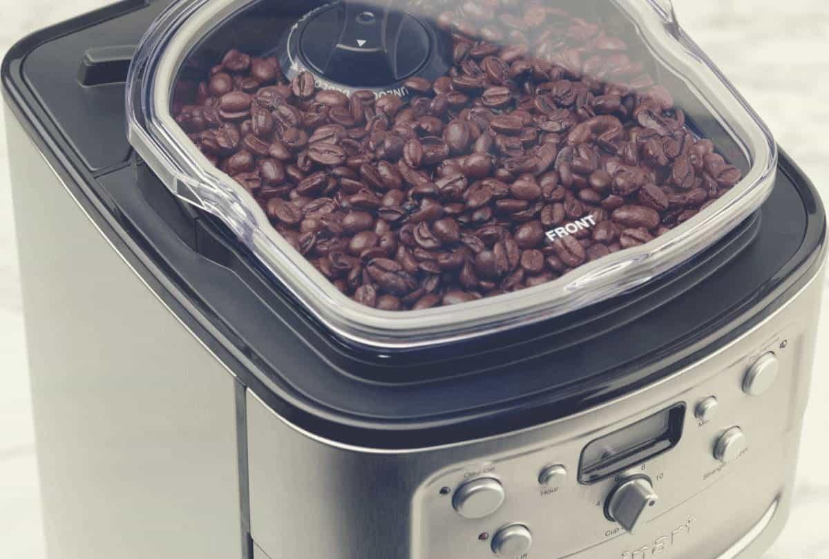Close up of the bean hopper in a cuisinart coffee maker