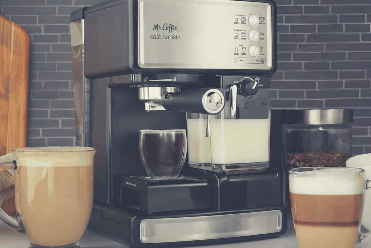 A promotional shot of the Mr Coffee Cafe Barista