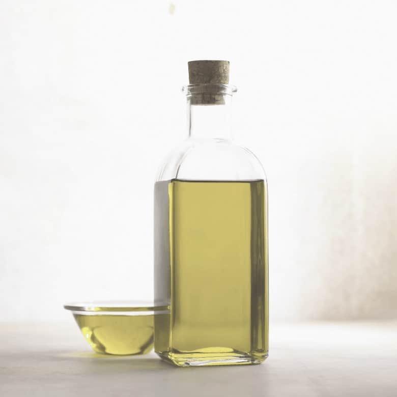 A shot of olive oil in a bottle