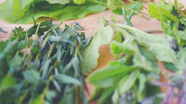 A collection of various unchopped herbs