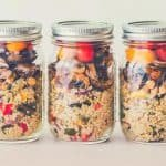 three jars of breakfast prepped in mason jars