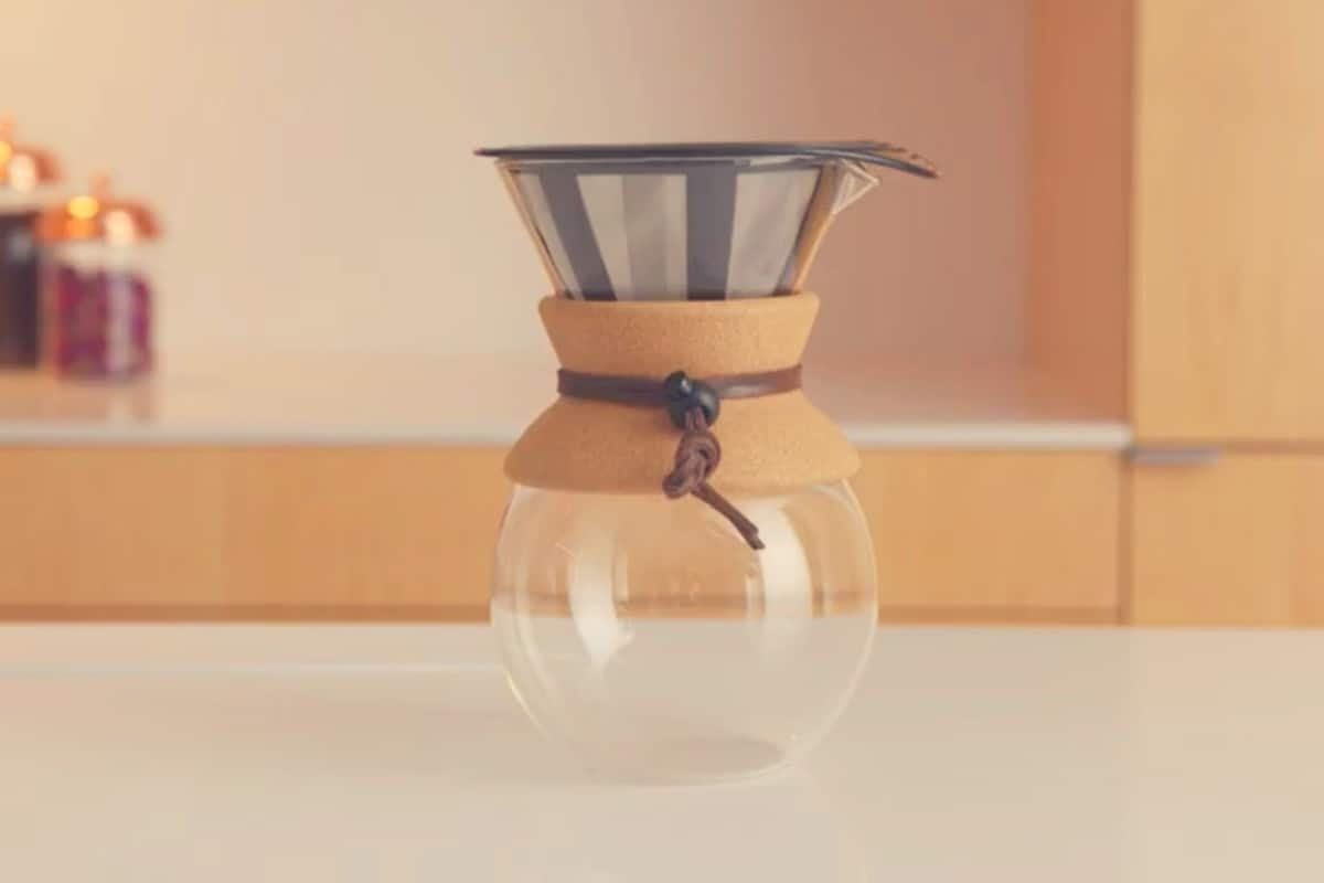 A wide angle shot of the Bodum Pour Over Coffee Maker