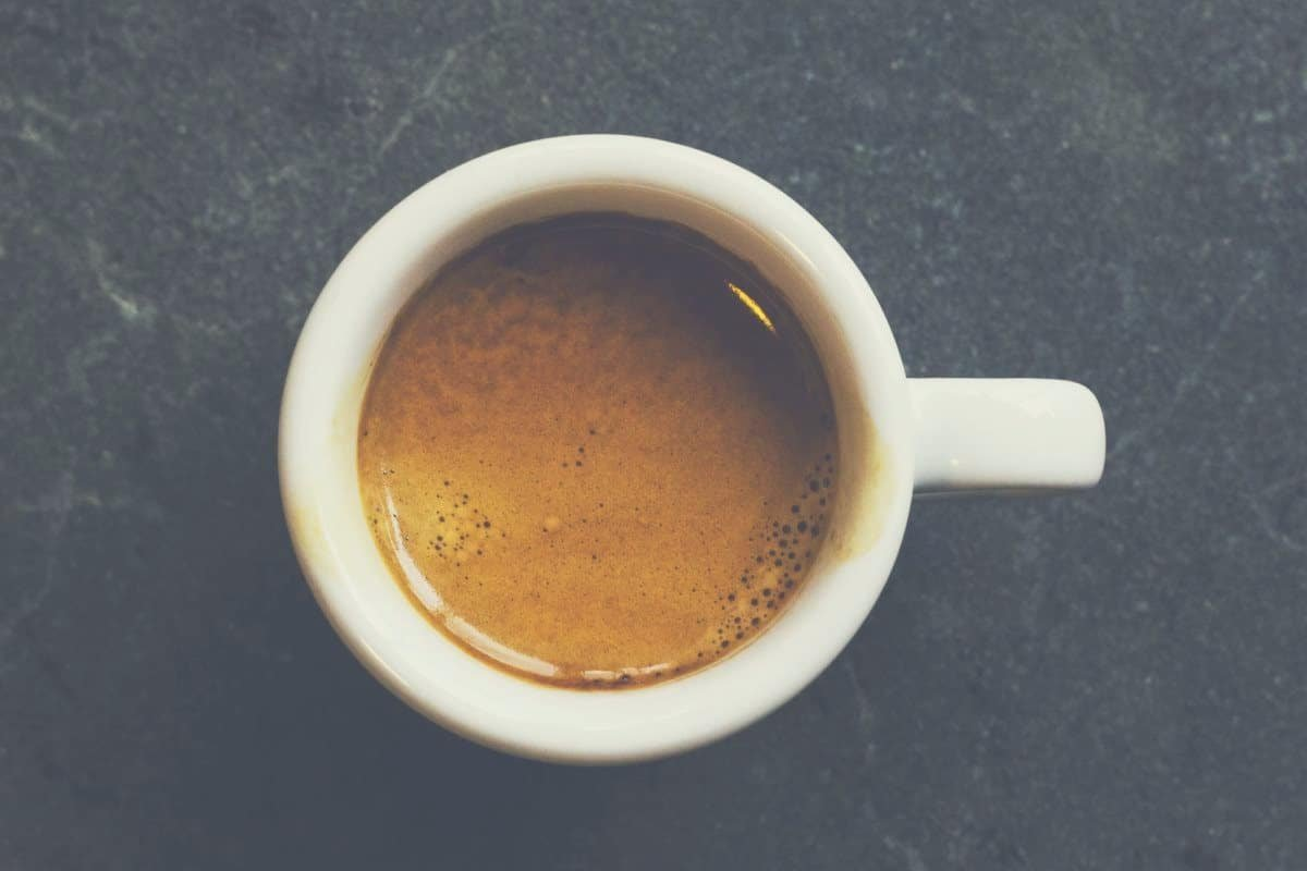 Overhead shot of a cup of coffee