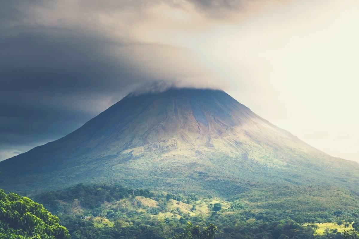 A panoramic shot of a volcano in Costa Rica