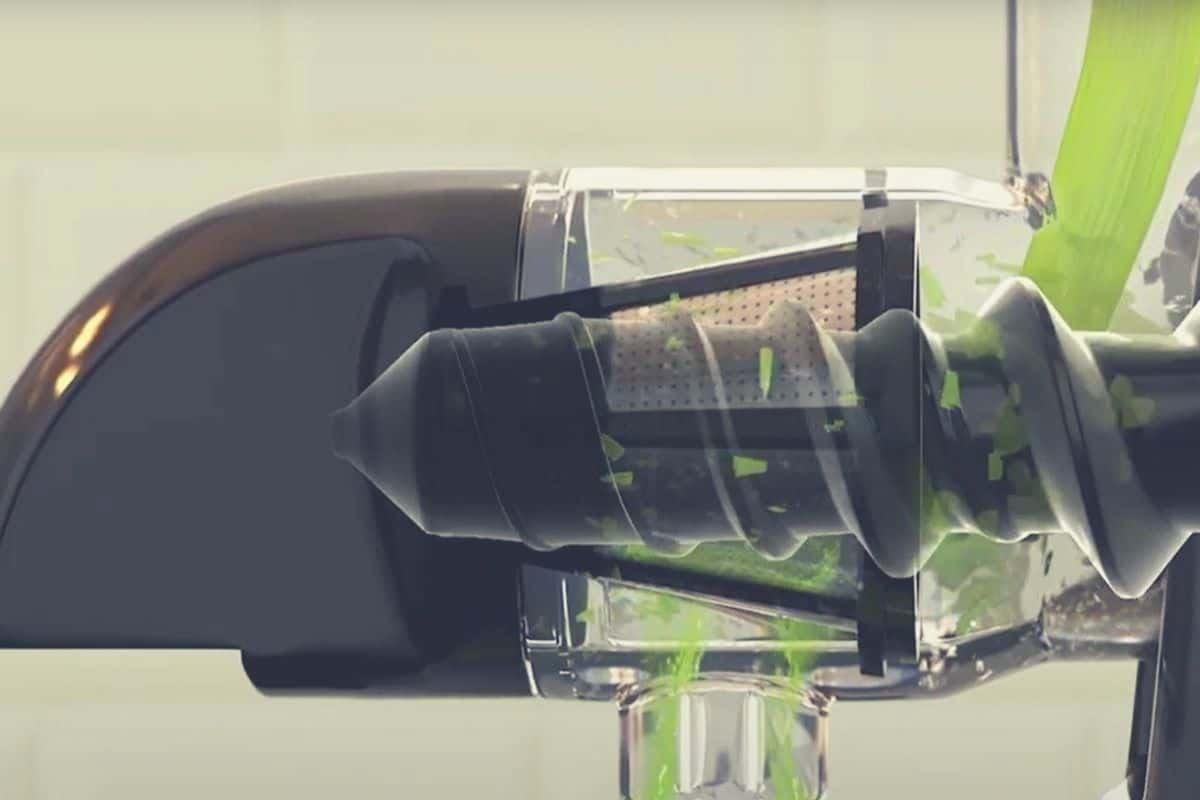An extreme close up of the auger on an Omega juicer