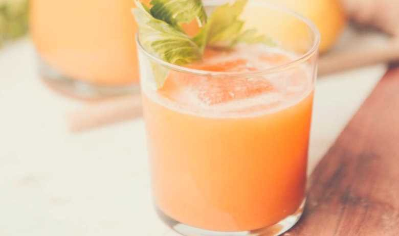 a glass of carrot juice with a carrot leaf settling on the surface