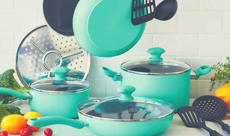 The GreenLife Soft Grip cookware set all together in a kitchen