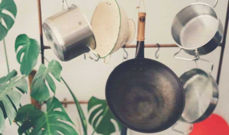 A cookware collection hanging from a rack, with a green leafy plant nearby